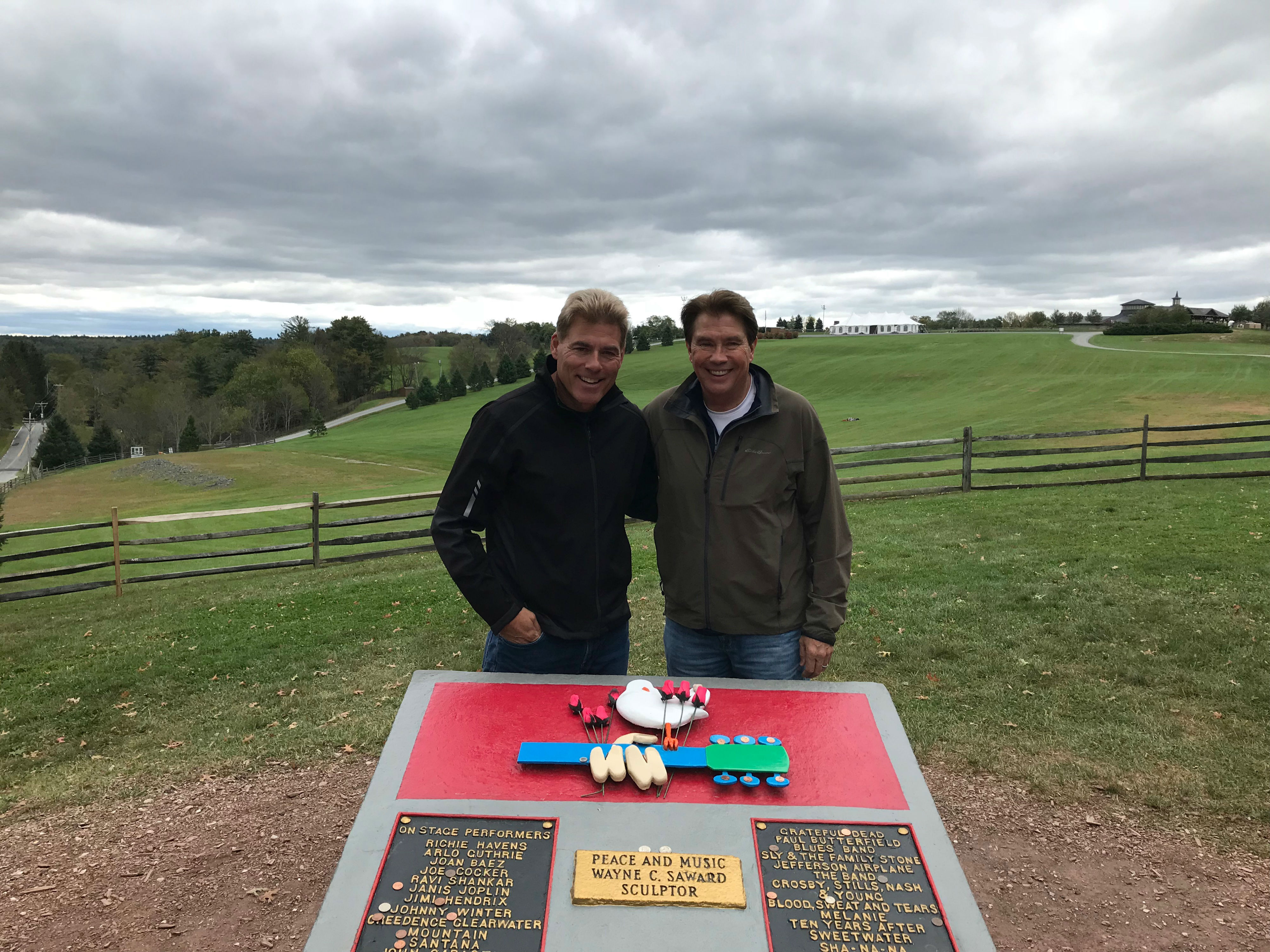Bill Hawkins and Friend in front of Woodstock memorial